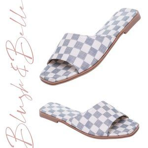 BELLAMY Grey Checker Vegan Leather Slide Sandals